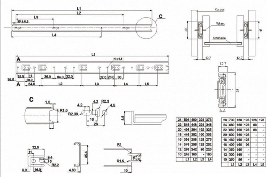 Роликовые направляющие для выдвижных ящиков схема установки