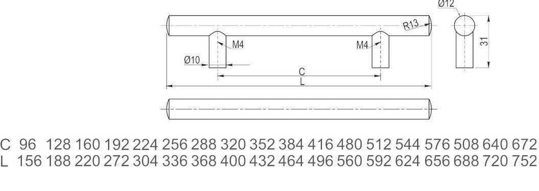 Ручка рейлинг RS-188128-05 GTV